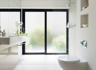 White clean modern bathroom with frosted glass door