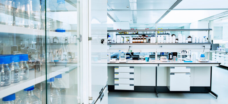Cabinet, shelves and equipment in laboratory