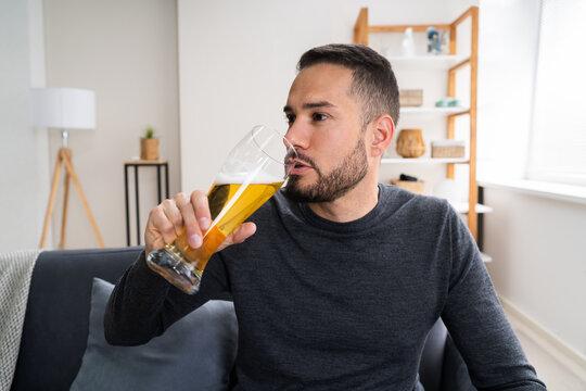 Man Drinking Beverage Beer Alone