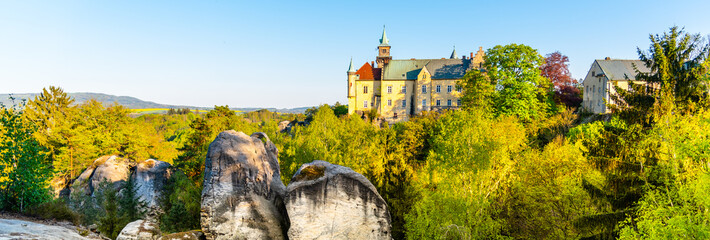 Fototapeta Hruba skala castle built on the top of sandstone rocks. Bohemian Paradise, Czech: Cesky raj, Czech Republic