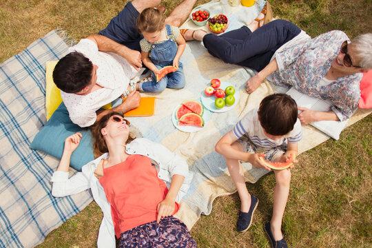 Overhead view multi-generation family enjoying summer picnic