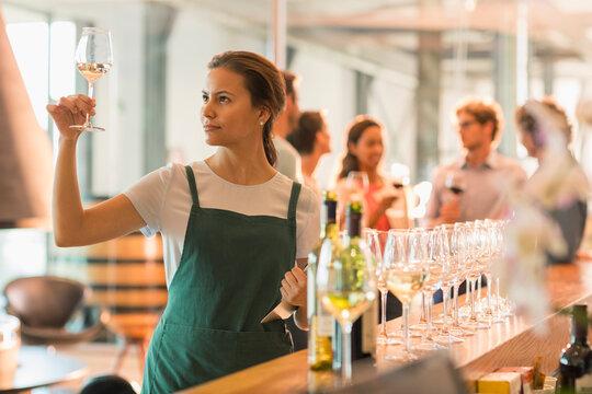 Wine tasting room worker examining white wine