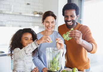 Smiling multi-ethnic family making green smoothie in blender in kitchen