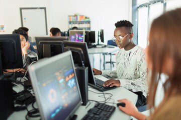 Junior high students at computers