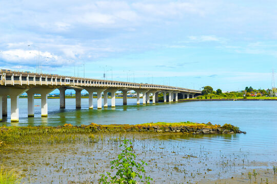Landscape View to Mangere bridge over the Manukau Harbour, Motorway Bridge in South-Western Auckland New Zealand