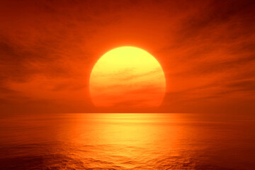 Foto op Plexiglas Rood light sunset orange sun calm orange sea with sun through nature horizon over the water with a cloudy sky.