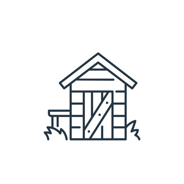 shed vector icon. shed editable stroke. shed linear symbol for use on web and mobile apps, logo, print media. Thin line illustration. Vector isolated outline drawing.