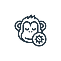 monkey vector icon. monkey editable stroke. monkey linear symbol for use on web and mobile apps, logo, print media. Thin line illustration. Vector isolated outline drawing.