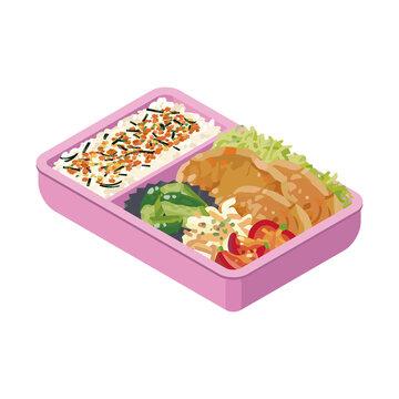手作り 生姜焼き弁当 ピンク