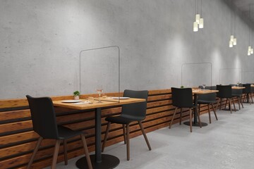 Social distancing restaurant with Glass protect from COVID-19 viruses 3d rendering