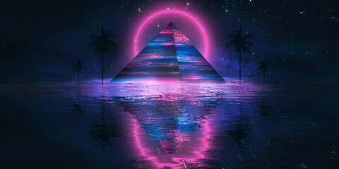 Fotomurales - Futuristic abstract night neon background. Light pyramid in the center. Night view of the pyramid illumination. Neon lights Reflection of water rays.