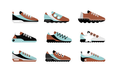 Light blue, brown, black and grey isolated on a white background Sports Shoes vector icon set. Sneakers collection.