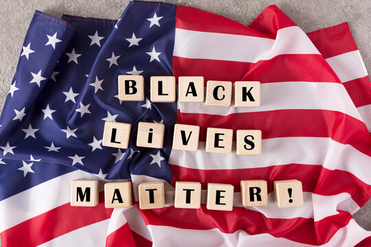 protests spread across America. white and black people stand for human rights. Black lives matter, top view