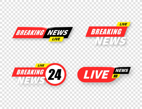 Breaking news live tv bar set, headline title collection on transparent background.