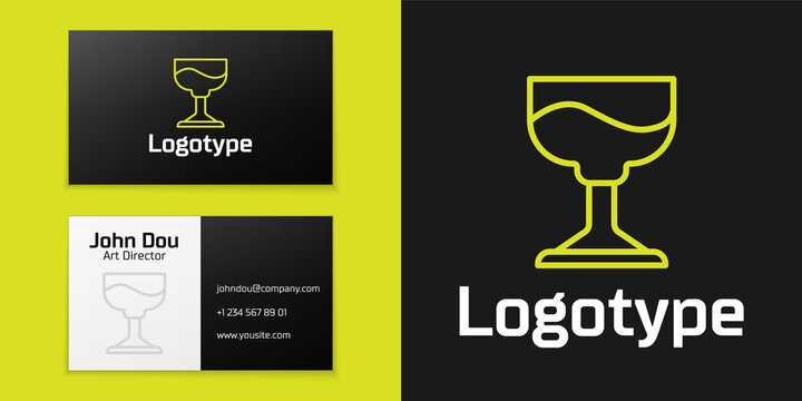 Logotype line Cocktail icon isolated on black background. Logo design template element. Vector.