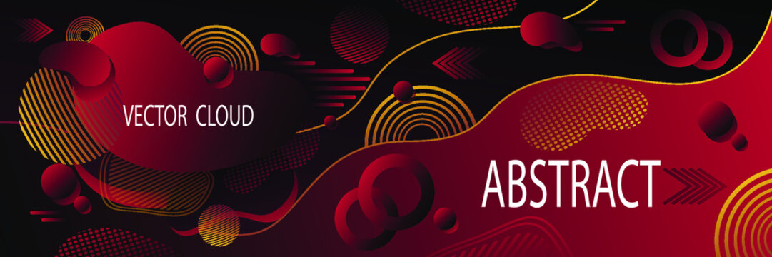 Abstract futuristic background or banner in dark red with clouds wave  liquid drops  geometric shapes dynamic  forms  illusion motion and data transfer