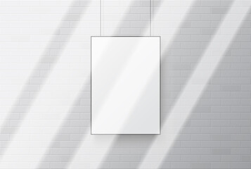 Wall Mural - Blank white poster mockup with shadow overlay.  Light from the window on the poster.