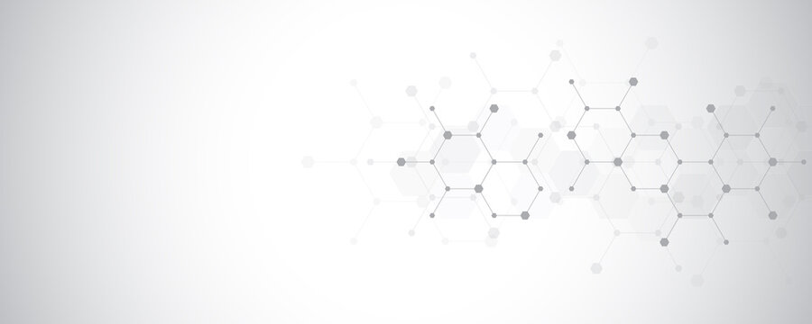Abstract molecules background. Molecular structures or chemical engineering, genetic research, innovation technology. Scientific, technical or medical concept.