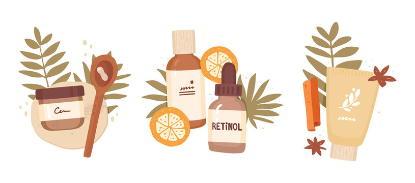 Set of vector vector illustrations in flat style. Serum, cream, lotion. Hand drawn cosmetics packaging, tropical leaves and fruits. Isolated composition on white background. Skin Care, Treatment, Spa