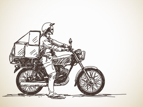Sketch of motorcycle delivery