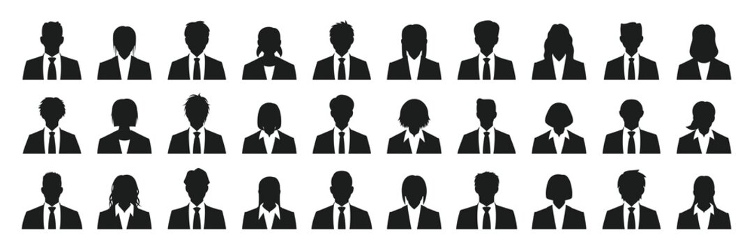 Business person silhouette set
