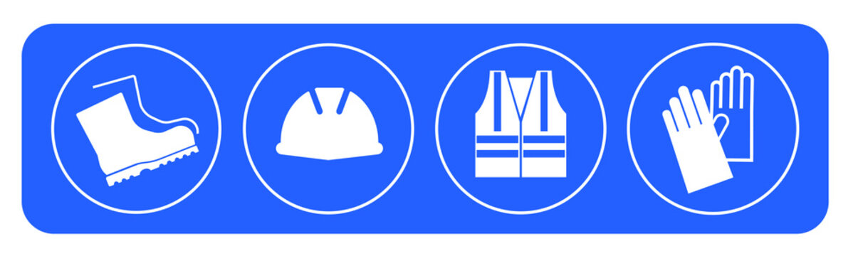 vector illustration of a set of blue and white buttons