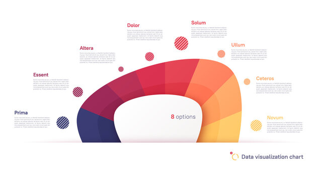Vector pie chart infographic template in the form of abstract shape divided by eight parts