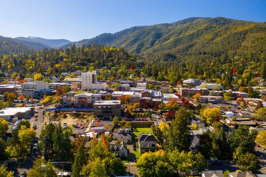 Aerial view of Ashland, Oregon