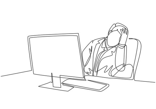 Single continuous line drawing of young sleepy businessman fall asleep on office chair with computer turn on at work desk. Work fatigue concept one line draw design vector illustration