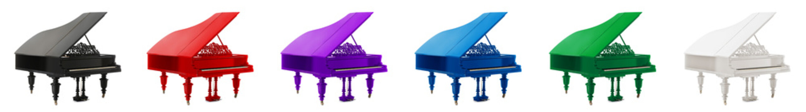 Different grand pianos on white background