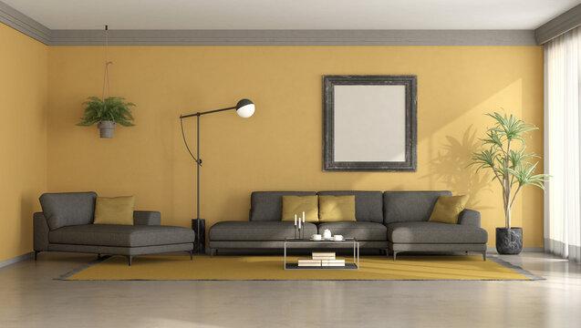 Black and yellow minimalist living room