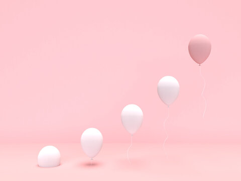 3D rendering set of white and pink balloons on pink background. Minimal business concept. Think difference. Leadership concept.