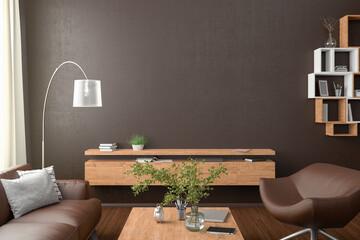 Blank brown wall mock up in the living room. 3d rendering