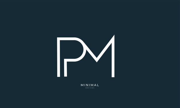 Alphabet letter icon logo PM
