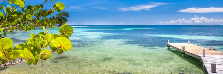 Belize, a tropical paradise in Central America. Web banner panoramic view. Wall mural
