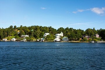Typical houses in Sweden on the coast by the Baltic Sea.