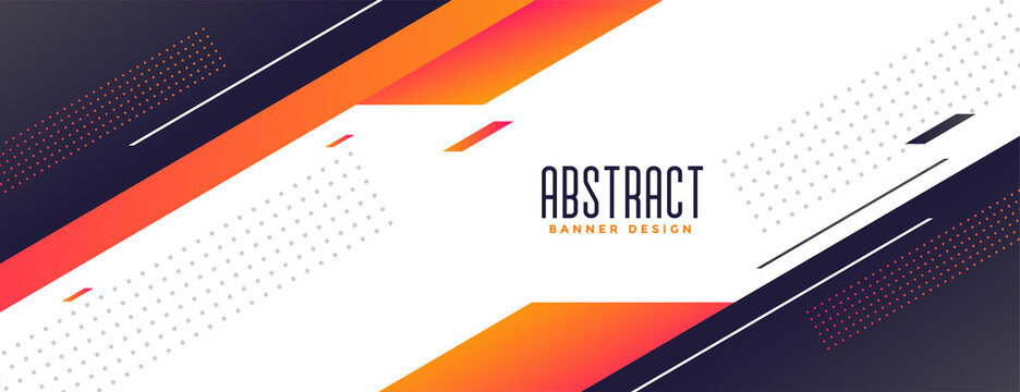 geometric memphis style modern banner with orange shapes