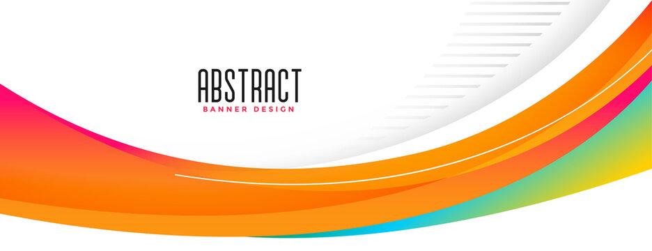 wavy abstract orange shape wide banner design