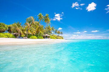 Poster Turquoise Relax island nature, sea sand sky. Tranquil beach scene. Exotic tropical beach landscape background or wallpaper. Surf of summer vacation holiday concept. Luxury travel beach, resort hotel landscape