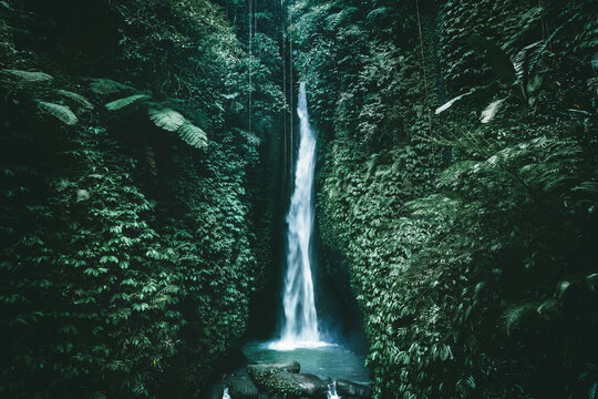 Amazing waterfall near Ubud in Bali, Indonesia.  Secret Bali jungle Waterfall