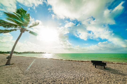 Wooden bench in Sombrero beach at dawn