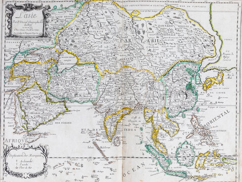Old map of Asia - From an 1656 Atlas of Geography from P. du Val - France (Private collection)