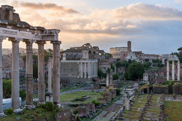 Temple of Saturn and Roman Forum at sunrise, Rome, Italy