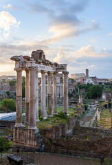 Temple of Saturn at sunrise, Rome, Italy