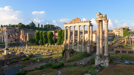 Ancient temple ruins in the Roman Forum, Rome, Italy
