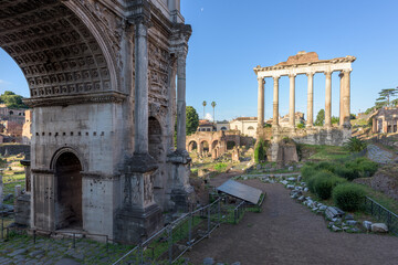 Arch of Severus and Temple of Saturn in the Roman Forum, Rome, Italy