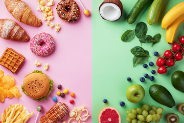 Healthy and unhealthy food background from fruits and vegetables vs fast food, sweets and pastry...