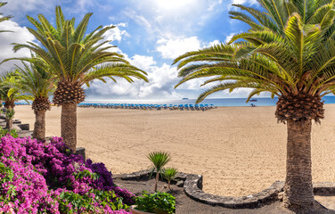 Wall Mural - Landscape with Puerto del Carmen beach, Lanzarote, Canary Islands, Spain