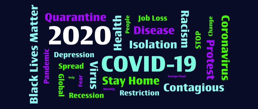 A word collage for the historical year of 2020 like none other. COVID-19 a global pandemic, financial recession and job loss, racial discrimination and protesting for civil rights.