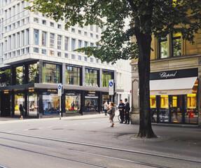 Zurich, Switzerland circa September, 2019: Bahnhofstrasse in Zurich, Switzerland, main downtown street in the city center